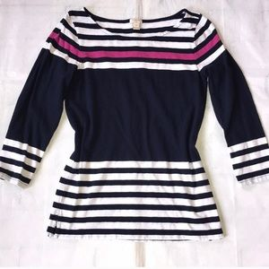 J. Crew Navy Pink Striped Tee